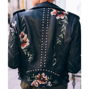Blank NYC Jackets & Coats - LOOK! STUDDED EMBROIDERED FAUX LEATHER MOTO JACKET